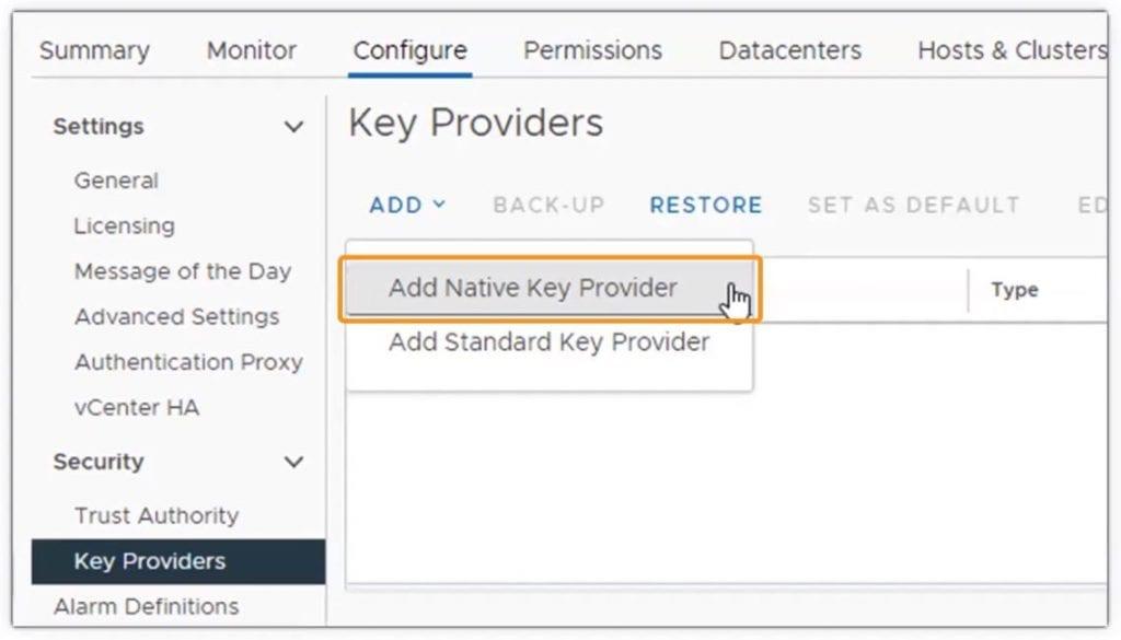 vSphere 7 Update 2 Native Key Provider